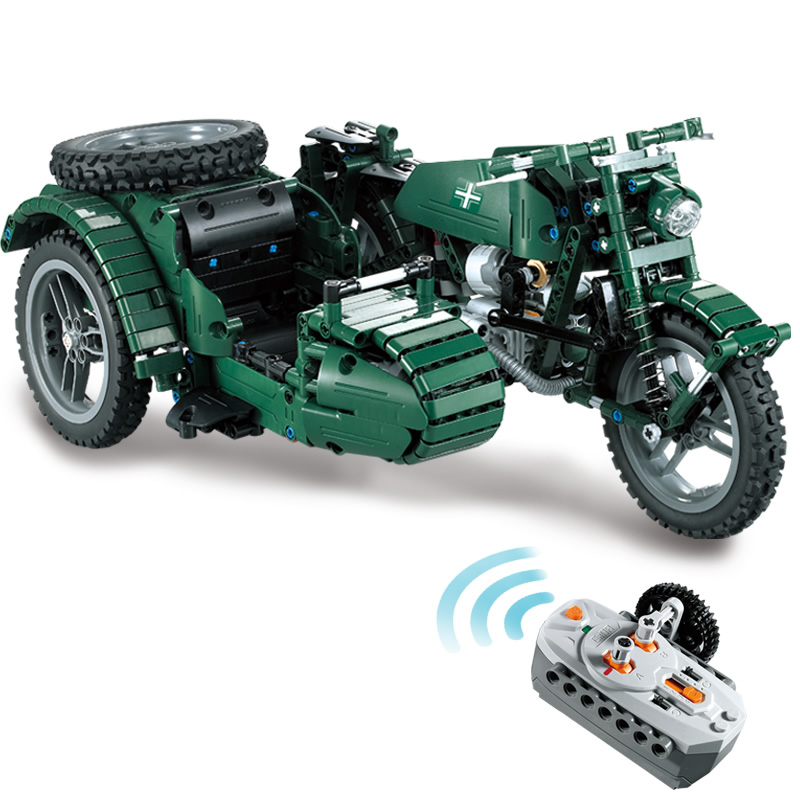 Military RC Motorcycle Building Blocks Compatible Technic WW2 Autocycle Army Vehicle Bricks Toys Gifts For Children