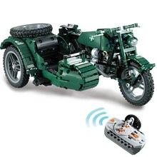 Bloques de construcción de motocicleta RC militar Fit Legoing Technic WW2 autociclo ejército vehículo ladrillos juguetes regalos para niños