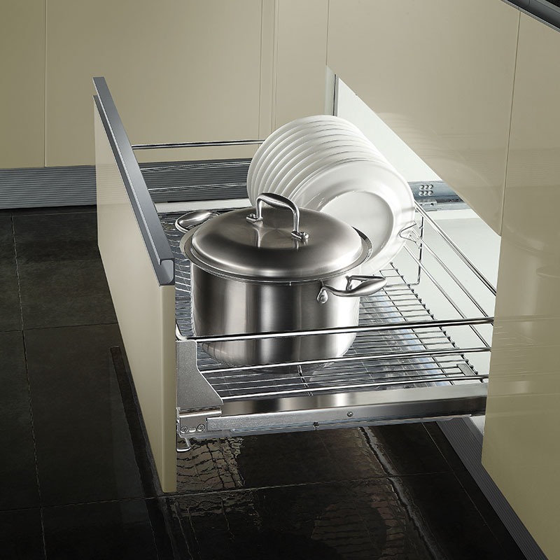 Pull Out Sliding Metal Kitchen Pot Cabinet Storage: Kitchen Pantry Pull Out Sliding Stainless Steel Basket