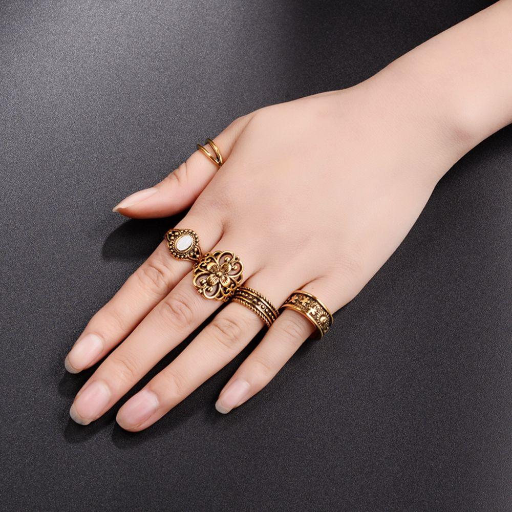 5 Stks/set Boho Zilver & Goud Kleur Midi Vinger Ringen Voor Vrouwen Stapel Plain Boven Knuckle Ring Sieraden Vintage Vinger Ringen Set