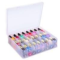 Behogar 48 Grids Portable Double Side Plastic Storage Box Organizer Case with Handle for Nail Polish Essential Oils Lipsticks