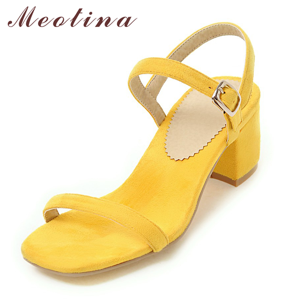 Meotina Zapatos de diseño Sandalias de mujer Verano 2018 Chunky Heel Sandals Open Toe Buckle Party Mid Heels Yellow Red Plus Size 9 42 43