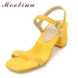 Meotina Design Shoes Women Sandals Summer 2018 Chunky Heel Sandals Open Toe Buckle Party Mid Heels Yellow Red Plus Size 9 42 43 1