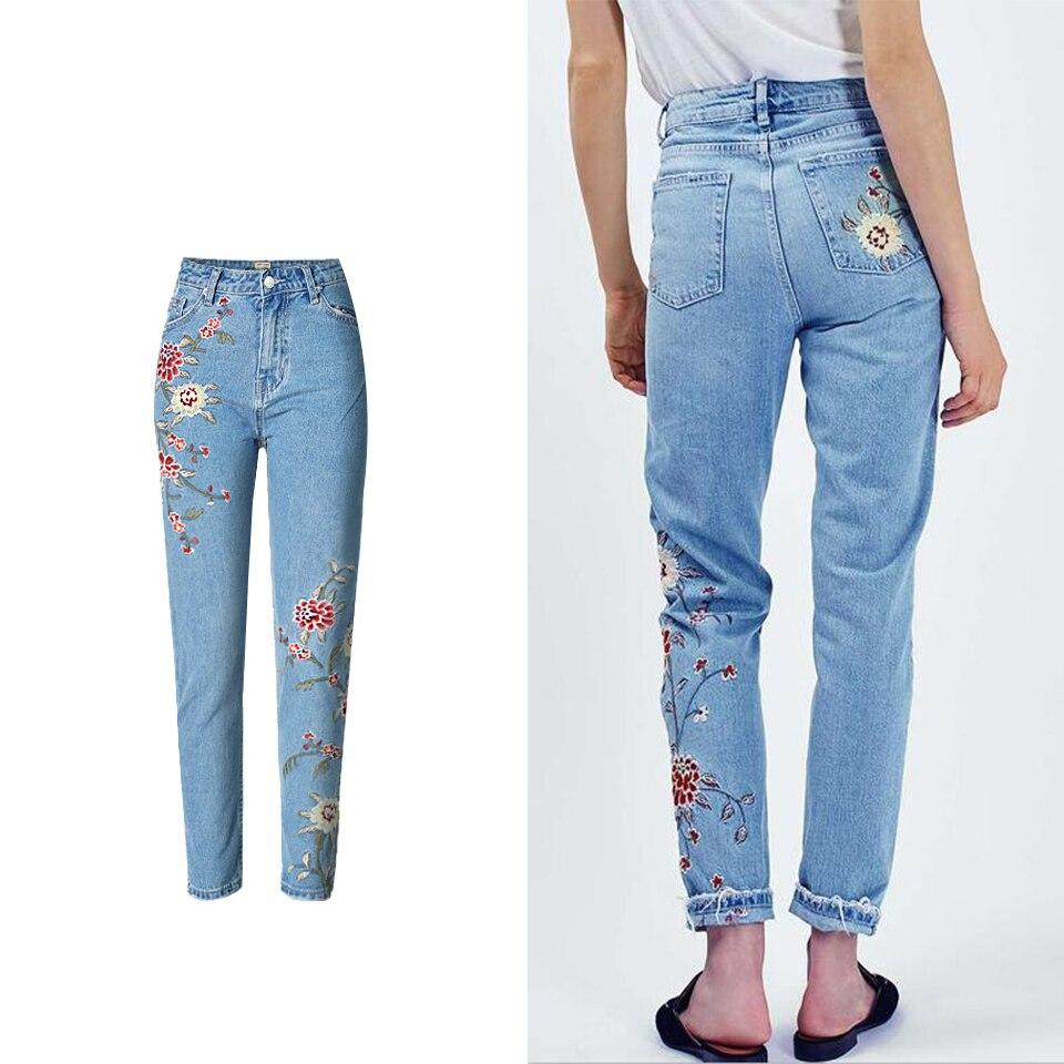 Flor Bordados Pantalon Vaqueros Jeans Denim Femme Mamá Con 5YnFxOA1