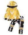 Мода Baby Boy Толстовки Олень Топ Девочка Желтый С Капюшоном Футболка Симпатичные Малышей Геометрические Брюки Горячие Младенческая 2 ШТ. Наряды