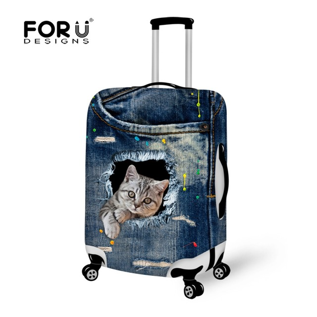 Fashion Denim Animals Cat Cute Printed Women Luggage Protective Covers for 18-30 Inch Suitcase Cover Elastic Luggage Accessories