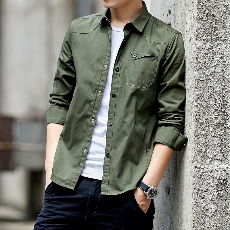 2019 New Cotton Military Shirt Men Long Sleeve Breathable Casual Shirt Man Solid Shirt With Camisa Masculina Khaki Army Green