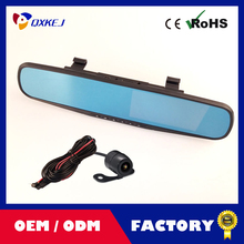 Trainshow New Tachograph HD 4.3 LCD Dual Lens Video Dash Cam Recorder Car Camera DVR 3 In 1 Rearview Mirror Front Dvrs