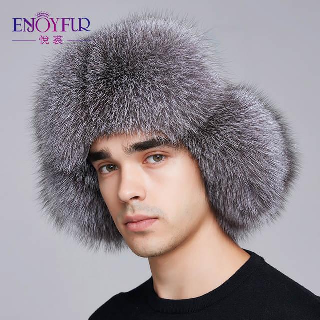 617b8a0bed8 ENJOYFUR 2018 winter hat earflap men real fox fur hats russian ushanka fur  protect ear warm