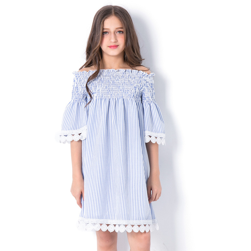 все цены на Teen Girls Blue Striped Ruffle Off Shoulder Dress with Lace Trim Summer 2018 New Big Girl Summer Clothes Size 6 8 10 12 14 Years онлайн