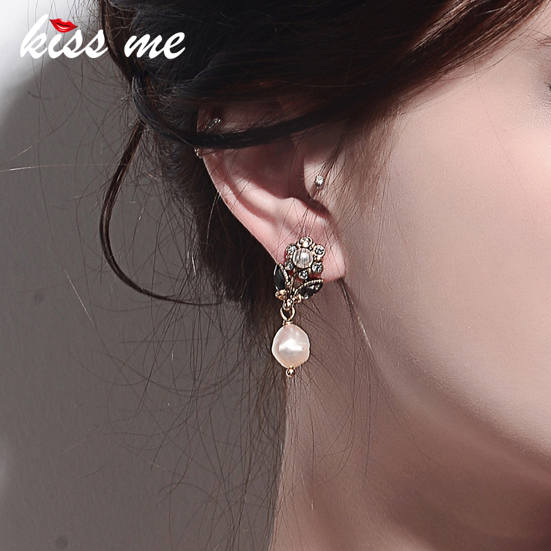 KISS ME Simple Cultured Pearl Crystal Flower Drop Earrings for Women Party New Fashion