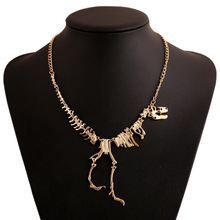 New fashion Jewelry Gothic Tyrannosaurus Rex Skeleton Dinosaur Pendant Necklace Gold Silver Chain Choker Necklace For Women