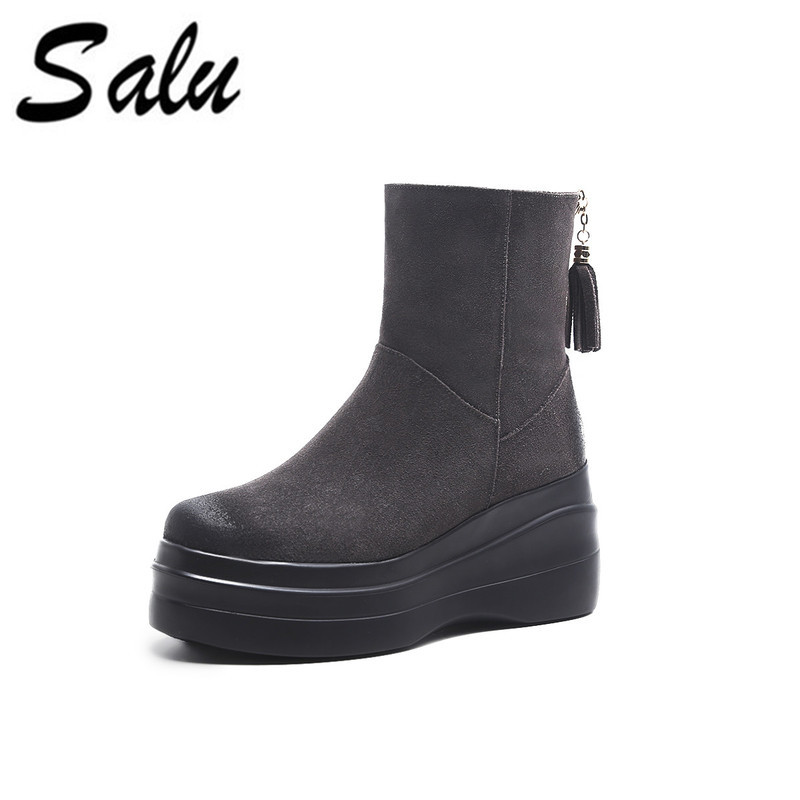 Salu Women ankle Boots Zipper Fashion Round Toe Winter All Match Women Shoes platform High Heel Women Boots fashion ultra high heel dress shoes women stiletto heel platform round toe pure black can match any situation