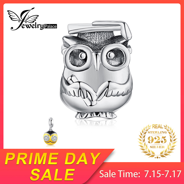 JewelryPalace 925 Sterling Silver Beads Lovely Wise Owl Glasses Beads Charms fit Bracelets Bangles Fashion DIY Jewelry for Women