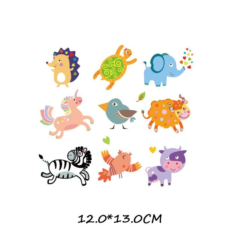 Набор патчей с изображением животных из мультфильмов, милые патчи с изображением единорога, кошки, совы, собаки, цветов для детей, одежда для девочек, футболка, сделай сам, термопресс - Цвет: 913