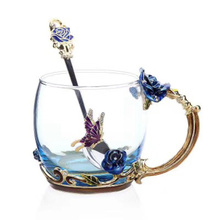 Blue Rose Enamel Color Crystal Glass Tea Cup High-grade Butterfly Flower Coffee Mugs  perfect Lovers Gift Souvenir F2