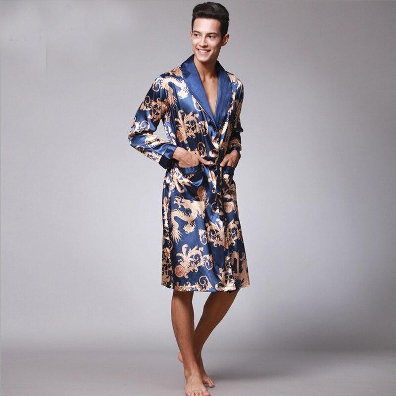 Autumn Winter Spring Men Silk Satin Roupao Print Night Robe Long Sleeve Bathrobe Leisure Kimono Homme Fashion Bath Robe