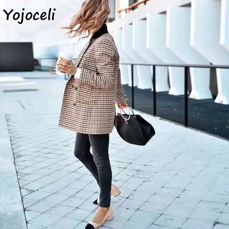 Female Blazer Jacket Outerwear Coats Vintage Autumn Double-Breasted Winter Yojocel Palid