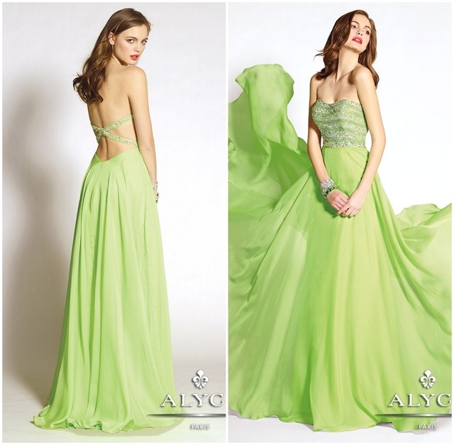 af08f130acc Bridals CW2990 Beautiful cross back sequins beaded apple green chiffon evening  dress ladies long evening party wear gown