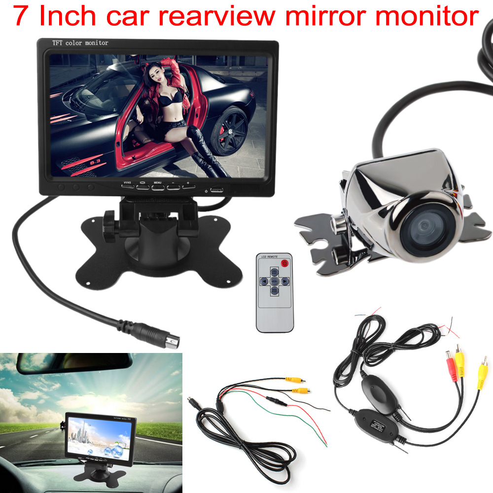 Car Rear View Parking Kit 7 Inch TFT LCD Headrest Rearview Monitor + Auto Reverse Backup Camera + Video Transmitter and Receiver 4 3 tft lcd car rear view stand security monitor and camera kit black