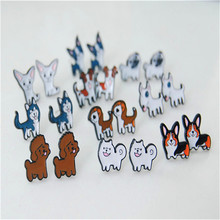 New Arrival Cartoon Cute Dog 10breed Animals Chihuahua Bulldog Bull Terrie Stud Earrings Female Gift Fashion