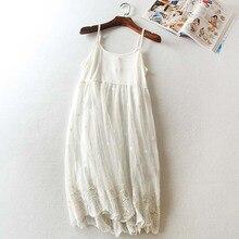 Summer Elegant Women Sweet Lolita Dress Soft Cotton Lace Floral Layer Embroidery Pattern Art Female Dress Mori Girl C230