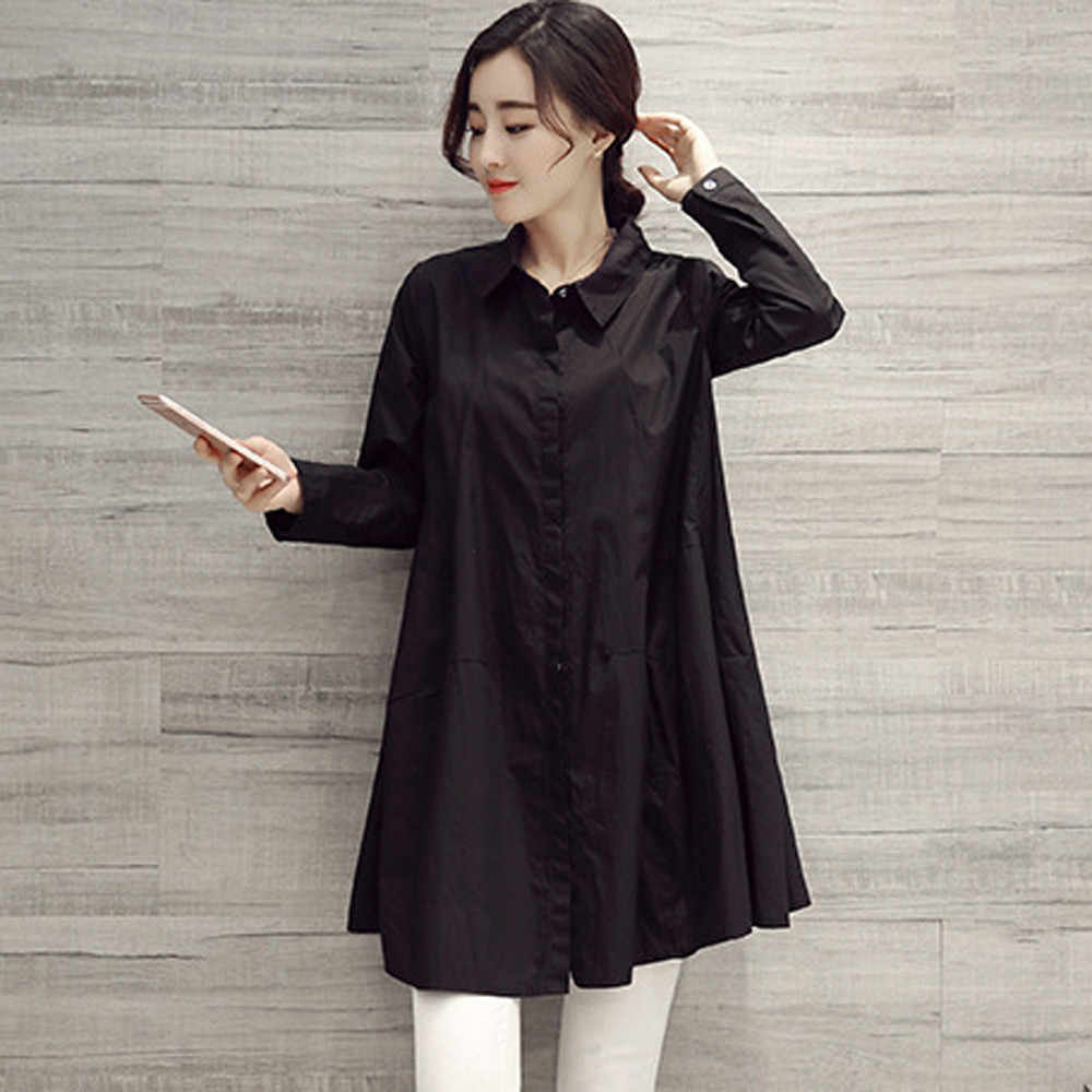 7f7ca012bbaa ... Womens Tops and Blouses 2018 Long Sleeve White Shirts Tunic Button  Ladies Long Top Clothes Loose