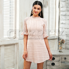 CUERLY Elegant pink hollow out lace dress women Half sleeve chic midi white Spring 2019 party sexy vestidos robe