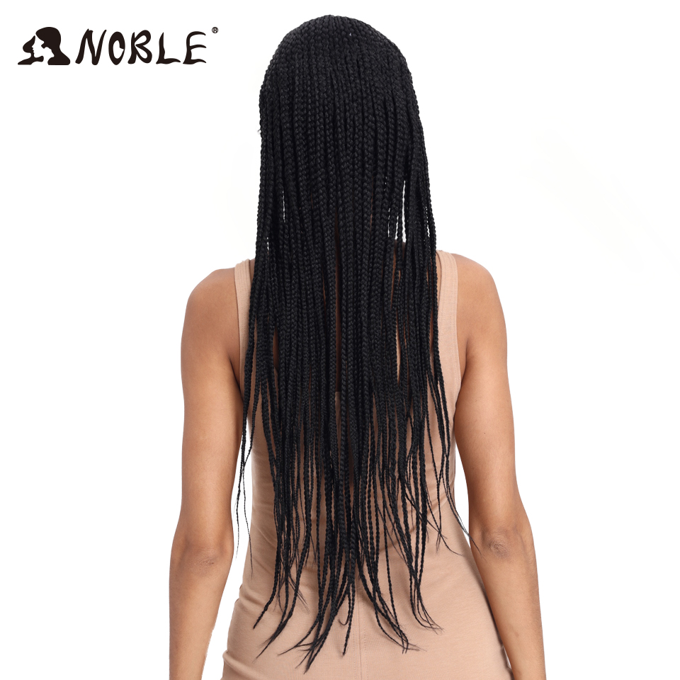 Image 3 - Noble Synthetic Braided Lace Front Wigs For Black Women 1b Heat Resistant 34 Inch Hair Braid Wigs Premium Braided Box Braids Wig-in Synthetic None-Lace  Wigs from Hair Extensions & Wigs