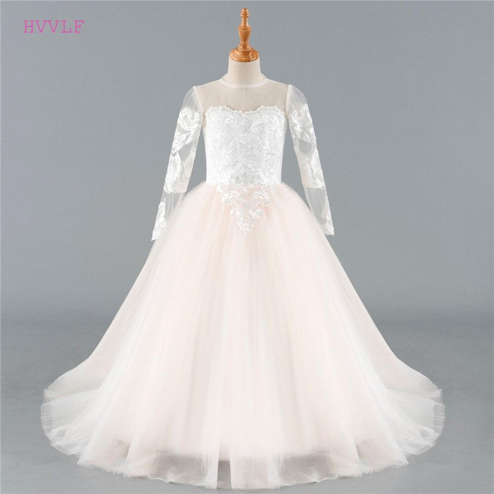 Beige 2019 Flower Girl Dresses For Weddings Ball Gown Long Sleeves Tulle Lace First Communion Dresses For Little Girls