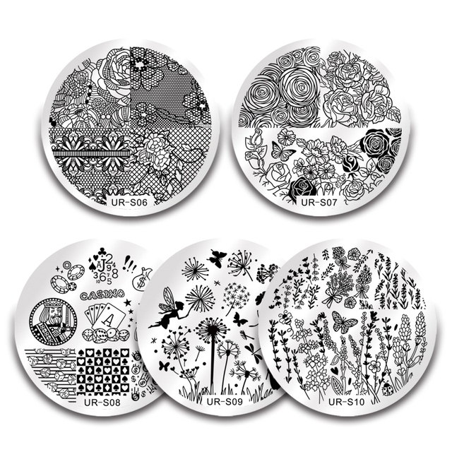 UR SUGAR Nail Stamping Template Stainless Steel Plate Lace Flower Animal Pattern Art Stamp
