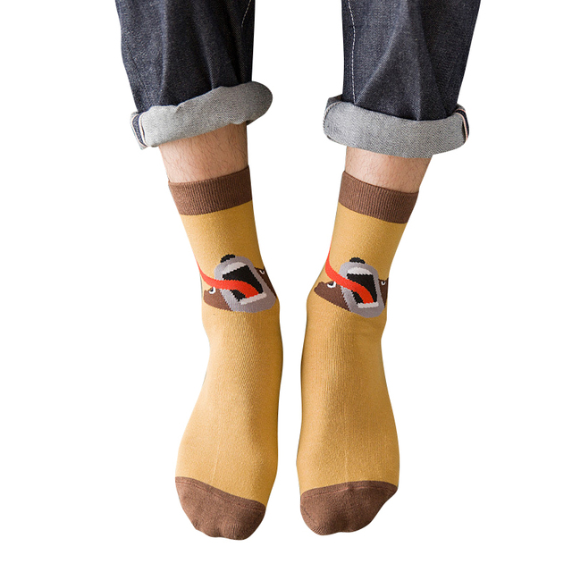 BXMAN BRAND New Autumn Fashion Men Animal Cotton Socks Korean Style Tide Breathable feMale Socks 5 pairs/Lot