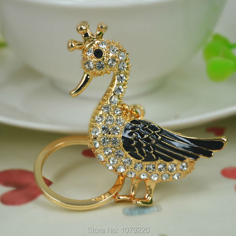 T Lovely Duck Keyring Rhinestone Crystal Charm Pendant Key Bag Chain Handbag Jewelry Keychain Christmas Mother's Day Gift
