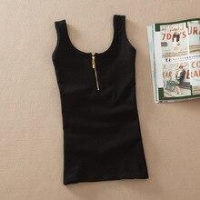 Camiseta informal de algodón liso para mujer, chaleco sin mangas tipo tanque, Top básico de Color caramelo, Top corto para mujer