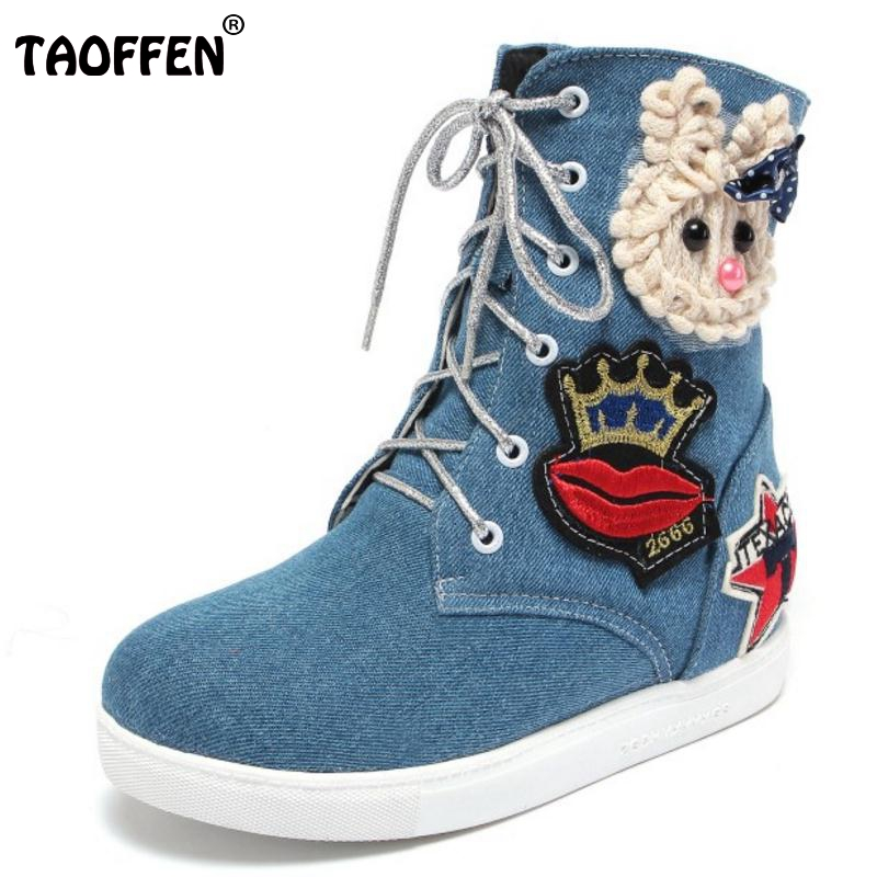 Women Round Toe Mid Calf Boots Woman New Design Cartoon Denim Short Boot Fashion Lace Up Flat Shoes Footwear Size 34-43