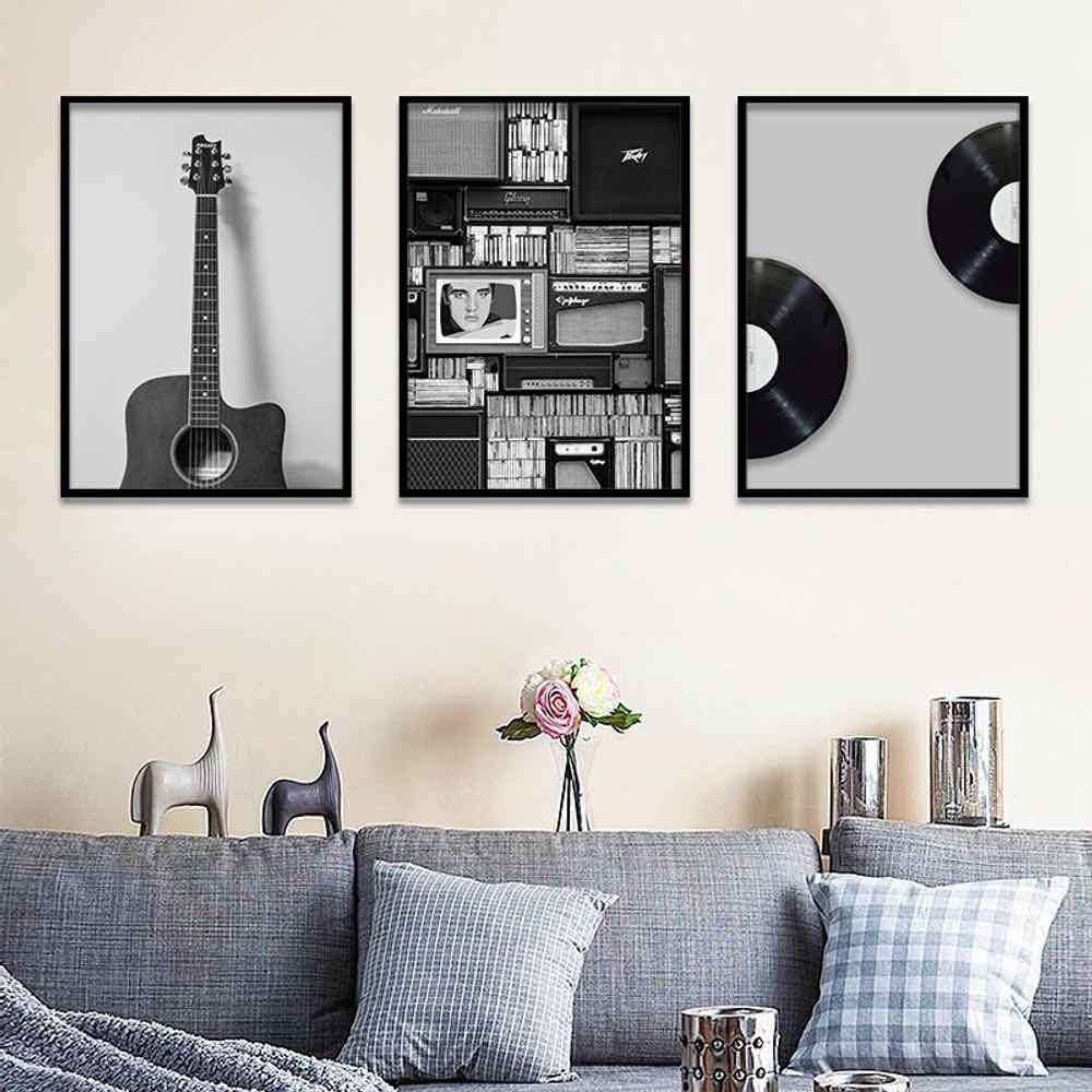 HAOCHU Painting LP Disk Rock Guitar Print Impression Poster Simple Nordic Wall Pictures Canvas For Living Room Home Decor