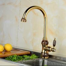 Европейский нефрита и золота кухонный кран горячей и холодной овощи бассейна вращающихся краны все медь античная бассейна кран водопроводной воды