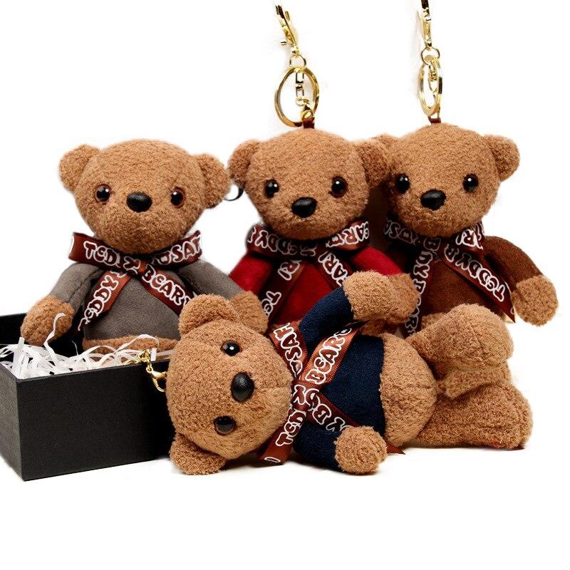 1 Pc 15 Cm Nette Teddy Bär Keychain Plüsch Puppen Kuscheltiere Joint Bears Kleine Tasche Anhänger Schlüssel Ketten Für Mädchen Kinder Spielzeug Seien Sie In Geldangelegenheiten Schlau