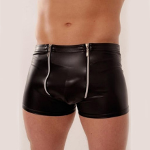 Hot Sale Underwear Man Black Sheath Vinyl Pants Sleepwear Lingerie 2017 Sexy Black Zipper Leather Men Boxers Underpants W850545