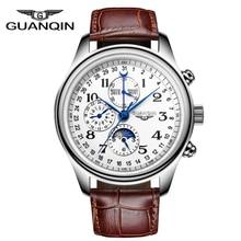 שעוני גברים יוקרה מותג GUANQIN אוטומטי מכאני שעון עמיד למים לוח שנה נצחית עור שעוני יד relogio masculino
