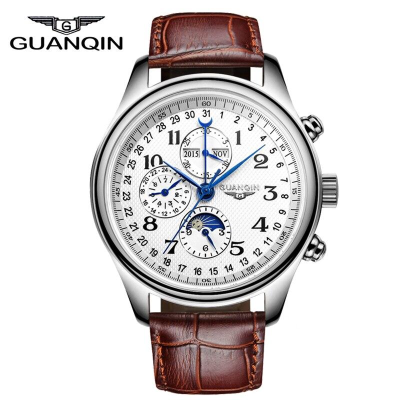 Relojes para hombre, marca de lujo, GUANQIN, reloj mecánico automático, reloj de pulsera de cuero con calendario permanente resistente al agua-in Relojes mecánicos from Relojes de pulsera    1