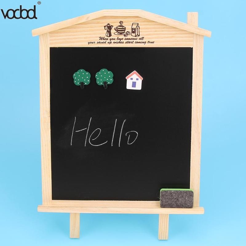 36*17cm Mini Wood Blackboard Office School Desk Message Chalkboard Kids Wooden Writing Drawing Board With Chalk Magnetic Nail magnetic chalkboard blackboard sheet decorative black chalk writing board blackboard stickers 60 x 40 cm