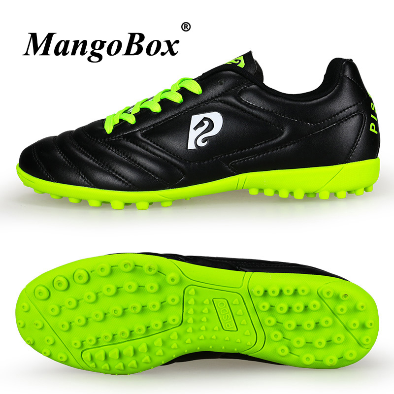 Men Sport Football Shoes Pu Leather Girls Soccer Sneakers Indoor Football Shoes For Children Orange Black Kids Soccer Cleats