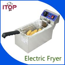 CE Stainless Steel Household and Commercial 6L Electric Deep Fryer Frying Machine With Free Shipping to some countries ce 2 tanks 16l electric deep fryer stainless steel frying machine commercial or household fryer