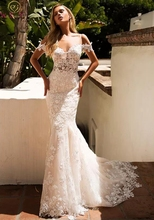2019 New Off The Shoulder Mermaid Wedding Dresses White Ivory Appliques With Tulle Bridal Gowns Sexy Backless Vestido De Noiva