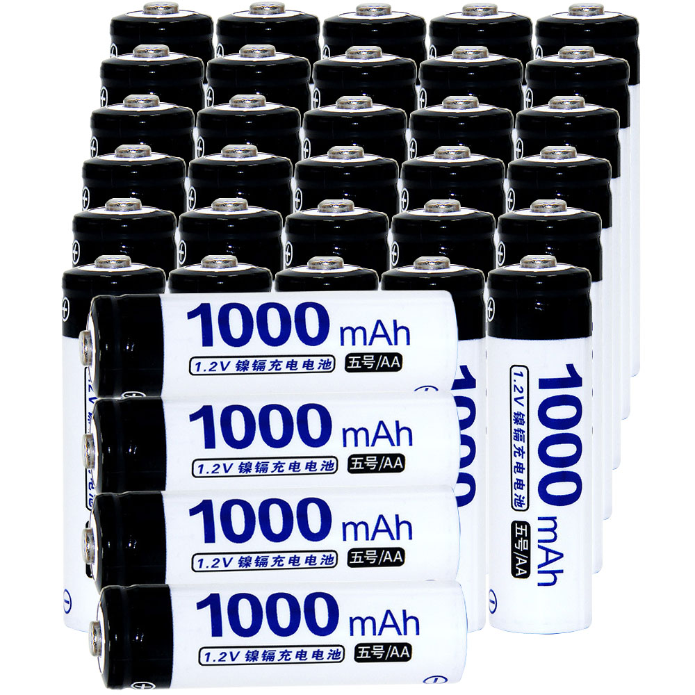 Real capacity! 34 pcs AA 1.2V NIMH AA rechargeable battery 1000mah for camera razor toy remote control flashlight 2A batteries