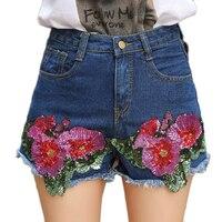 Vintage Lovertjes shorts voor vrouwen Mid Taille Denim Shorts Casual Korte Jeans zomer bloem sequines shorts femme Blauw 2018