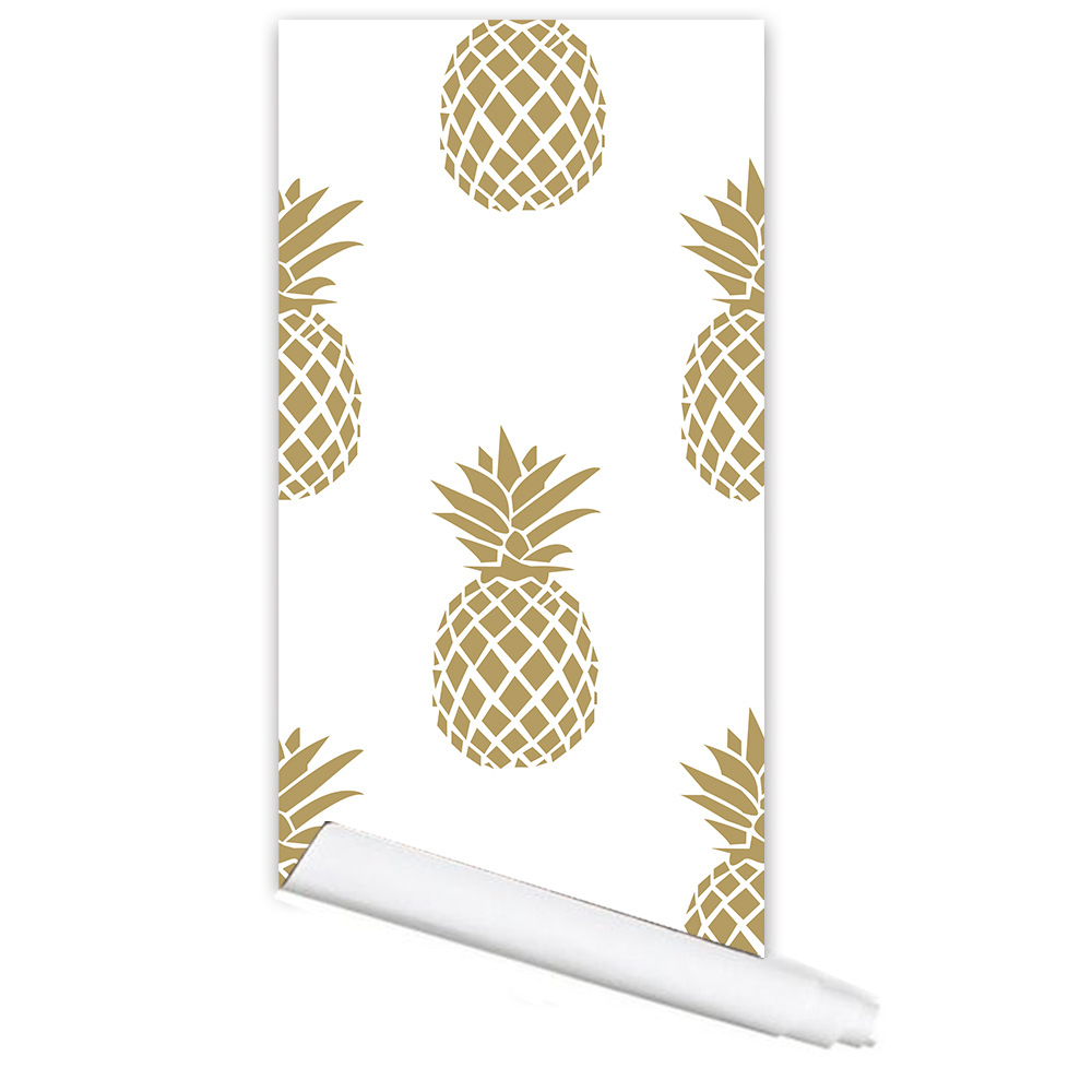 Hot Selling Simple Decoration Gold Pineapple Creative Waterproof Self Adhesive Wallpaper Multifunction Wallsticker Tablecloths In Wall Stickers From Home