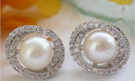 Mlle charme Jew00001 AA + + nouveau Style 11 MM blanc perle ronde 925 argent boucle d'oreille