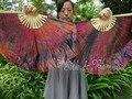Negro + rosa + naranja tie-dye, 1 par 30 cm de bambú + 10 cm Chino de la danza de ventilador (flutter), 2 capas fluidas de seda real!